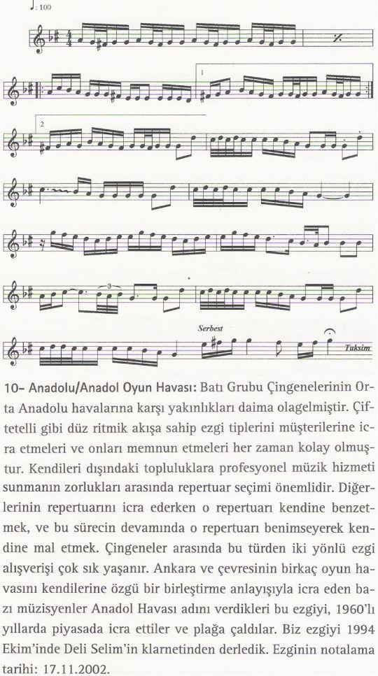 Anadolu Oyun Havası Ezgisinin Notası